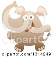 Clipart Of A Cute Cartoon Happy Baby Elephant Royalty Free Vector Illustration by Zooco