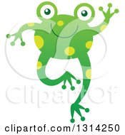 Clipart Of A Cute Cartoon Happy Baby Frog Jumping And Waving Royalty Free Vector Illustration