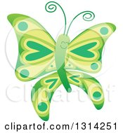 Clipart Of A Cute Cartoon Green Baby Butterfly Royalty Free Vector Illustration by Zooco