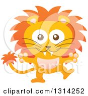 Clipart Of A Cute Cartoon Happy Baby Male Lion Royalty Free Vector Illustration