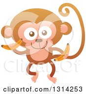 Clipart Of A Cute Cartoon Happy Baby Monkey Holding Bananas Royalty Free Vector Illustration