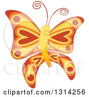 Clipart Of A Cute Cartoon Red Yellow And Orange Baby Butterfly Royalty Free Vector Illustration by Zooco
