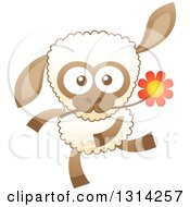 Clipart Of A Cute Cartoon Happy Baby Sheep Running With A Flower In His Mouth Royalty Free Vector Illustration