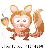 Cute Cartoon Baby Squirrel Holding An Acorn