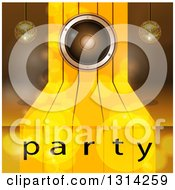 Clipart Of A 3d Music Speaker On Gold Steps With Suspended Disco Music Balls And Flares Over Party Text Royalty Free Vector Illustration
