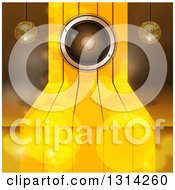 Clipart Of A 3d Music Speaker On Gold Steps With Suspended Disco Music Balls And Flares Royalty Free Vector Illustration