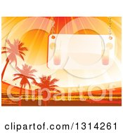 Clipart Of A Faded Cocktail Sign Suspended Over Orange Sun Rays Palm Trees And Grunge Royalty Free Vector Illustration