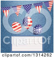 Clipart Of A 3d American Flag Bunting Banner With Party Balloons Over Denim And A Faded Text Box Royalty Free Vector Illustration