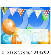 Clipart Of A Background Of Patterned Bunting Banners With Colorful Party Balloons And A Faded Text Box Royalty Free Vector Illustration by elaineitalia