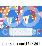Clipart Of A Background Of Patterned Bunting Flag Banners Over Blue Sky With A Faded Text Box Royalty Free Vector Illustration by elaineitalia