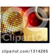 Clipart Of A Shiny Gold Microphone Text Box And Music Speaker Over Flares A 3d Giant Disco Ball And Silhouetted Hands Royalty Free Vector Illustration by elaineitalia