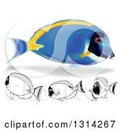 Clipart Of 3d And Cartoon Powder Blue Tang Marine Fish Royalty Free Vector Illustration