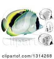 Clipart Of 3d And Cartoon Lined Butterflyfish Marine Fish Royalty Free Vector Illustration
