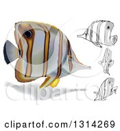 Clipart Of 3d And Cartoon Copperband Butterflyfish Marine Fish Royalty Free Vector Illustration
