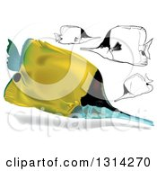 Clipart Of 3d And Cartoon Yellow Longnose Butterflyfish Marine Fish Royalty Free Vector Illustration