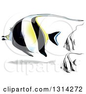 Clipart Of 3d And Cartoon Moorish Idol Marine Fish Royalty Free Vector Illustration