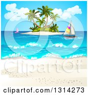 Clipart Of A White Sand Beach With Sailboats And An Island Royalty Free Vector Illustration