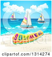 Clipart Of A White Sand Beach With Sailboats And Summer Text Royalty Free Vector Illustration