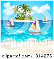 White Sand Beach With Sailboats And A Tropical Island