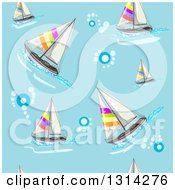 Clipart Of A Background Of Bubbles And Sailobats On Blue Royalty Free Vector Illustration by merlinul