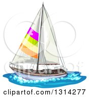 Sailboat With Colorful Stripes On Water