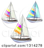 Clipart Of Sailboats With Colorful Stripes Royalty Free Vector Illustration by merlinul
