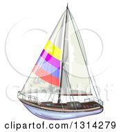 Clipart Of A Sailboat With Colorful Stripes Royalty Free Vector Illustration by merlinul