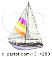 Clipart Of A Sailboat With Colorful Stripes 2 Royalty Free Vector Illustration by merlinul