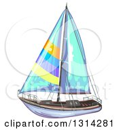 Clipart Of A Sailboat With Colorful Stripes And Blue Sails Royalty Free Vector Illustration by merlinul
