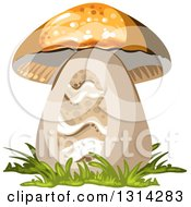 Clipart Of A Mushroom With Grass Royalty Free Vector Illustration by merlinul