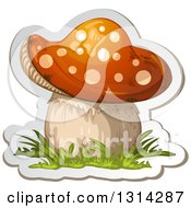 Clipart Of A Sticker Styled Mushroom With Grass And A White Outline Royalty Free Vector Illustration by merlinul