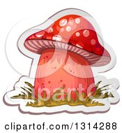 Clipart Of A Sticker Styled Red Mushroom With Grass And A White Outline Royalty Free Vector Illustration by merlinul