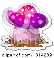 Clipart Of A Sticker Styled Purple Mushroom With Grass And A White Outline Royalty Free Vector Illustration