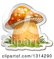 Clipart Of A Sticker Styled Mushroom With Grass And A White Outline 2 Royalty Free Vector Illustration by merlinul