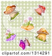 Clipart Of Sticker Styled Mushrooms And Flowers With White Outlines Over A Green Polka Dot Pattern Royalty Free Vector Illustration by merlinul