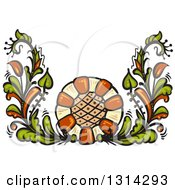 Clipart Of A Green And Brown Floral Design Element Royalty Free Vector Illustration