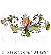 Clipart Of A Green And Brown Floral Design Element 2 Royalty Free Vector Illustration by merlinul