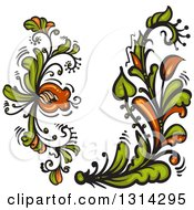 Green And Brown Floral Design Elements 2