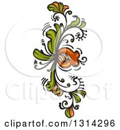 Green And Brown Floral Design Element 3