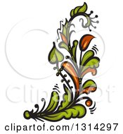 Green And Brown Floral Design Element 4