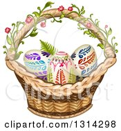 Clipart Of A Wicker Basket With A Floral Vine And Ornate Easter Eggs Royalty Free Vector Illustration