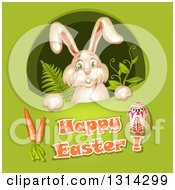Clipart Of A Bunny Rabbit Peeking Through A Hole With Ferns And Vines Over Happy Easter Text Cartots And An Egg On Green Royalty Free Vector Illustration by merlinul
