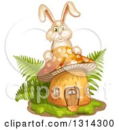 Clipart Of A Mushroom With Grass Ferns And A Bunny Rabbit Royalty Free Vector Illustration by merlinul