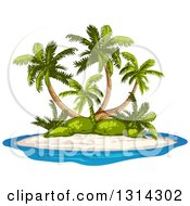 Clipart Of A Tropical Island With Palm Trees And White Sand Royalty Free Vector Illustration by merlinul