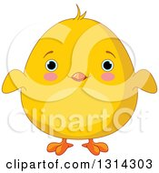 Clipart Of A Cute Chubby Yellow Chick With Blue Eyes Royalty Free Vector Illustration