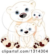 Clipart Of A Cute Fathers Day Polar Bear Dad With Cubs Royalty Free Vector Illustration