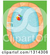 Clipart Of A Cartoon Aerial View Of A Beach Ball In A Swimming Pool With Grass Royalty Free Vector Illustration
