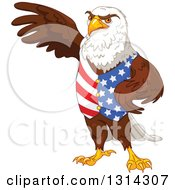 Clipart Of A Handsome Patriotic Bald Eagle Wearing An American Vest And Presenting Royalty Free Vector Illustration