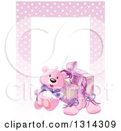 Baby Girl Teddy Bear Shoes And Gift With Text Space And A Border Of Polka Dots On Pink