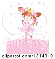 Cartoon Brunette White Princess Girl Holding A Wand Over Pink Stars Dots And Hearts